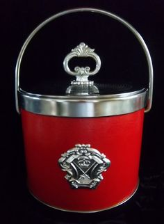 Red and Silver Mid Century Ice Bucket with Shield by DayJahView