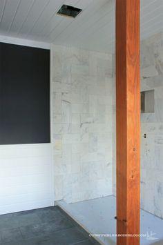 Benjamin Moore's Wrought Iron on bathroom walls. Paired with marble herringbone shower. Bathroom Wall, Master Bathroom, Benjamin Moore Wrought Iron, Black Bath, Dark Side, Beams, Shower, Mirror, Herringbone