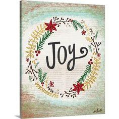 Canvas On Demand Christmas Art 'Joy Wreath' by Katie Doucette Textual Art on Wrapped Canvas Size: