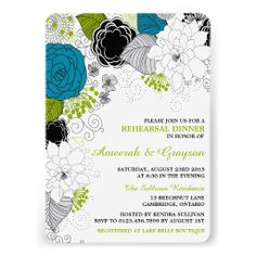 The blue floral artwork is truly amazing on these unique rehearsal dinner invites.  I love the way the image is wrapping around one side of the card while all of the party info is neatly in the one corner.  Very pretty!