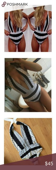 Black and White One Piece Swimsuit Not from Nasty Gal. Brand New! Black and white one piece backless one piece swimsuit.Medium: 33/36B 27/28 waist 35/36 hips.Takes one to two weeks to ship! Nasty Gal Swim One Pieces