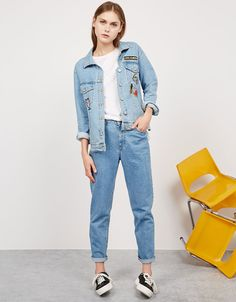 Oversize denim jacket with patches - Oversize - Bershka Philippines