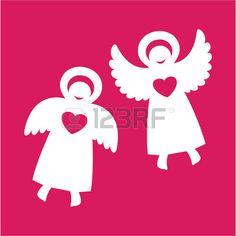 Deux anges avec c?ur sur un fond rouge