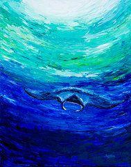 Manta Ray Paintings - Through the Deep  by Alexandra Nicole Newton