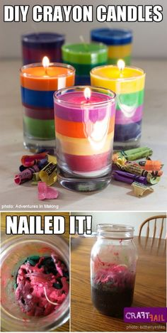 Use mason jar!  Melted Crayon Candle Mottled Mess