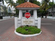 Gatehouse at the entrance to the Truman Annex neighborhood, where the Little White House is located in Key West, FL