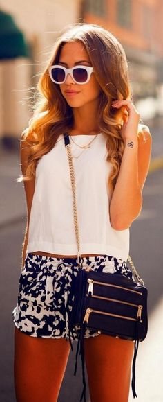 #summer #fashion / white top + pattern print romper