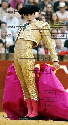 Each part of the suit has significance and are chosen by the Matador. It is important that the suit meet the desires of the Matador, and the suit, as a whole, fits tightly. Matador Costume, Mexican Costume, Spanish Culture, Costume Design, Spain, Style Inspiration, Mens Fashion, Costumes, My Style