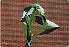 Life Cycles by Logan Woodle. One of four painted aluminum sculptures that visually track the growth development of a frog.  #art #winthrop #college #frogs #frog #lifecycle #lifecycleoffrog