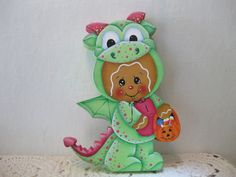 HP Gingerbread Halloween Dragon SHELF SITTER hand painted USA