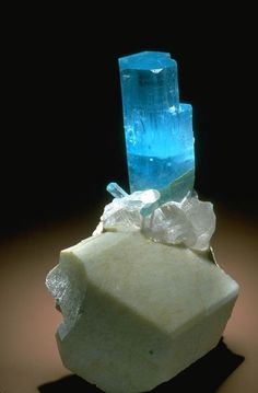 This beryl (aquamarine) crystal was found in the Shigar Valley, North Areas, Pakistan. The crystal is about 13 cm tall. The beryl is perched on a well-formed microcline crystal with quartz. These three minerals are often found together in pegmatites.