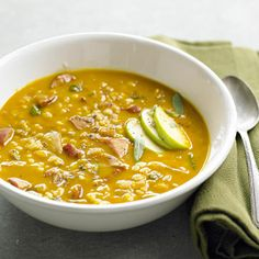 Pumpkin, Barley, and Sage Soup (recipe calls for sausage, but I would make it meatless).
