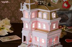 Magnolia Manor by Mary Rudakas at SVGCuts - DIY paper house for your electronic cutting machine Arts and Crafts What exactly are 'arts & crafts'? Paper Craft Making, 3d Paper Crafts, Diy Paper, Popsicle Stick Crafts House, Craft Stick Crafts, Paper Structure, D House, House Ornaments, Putz Houses