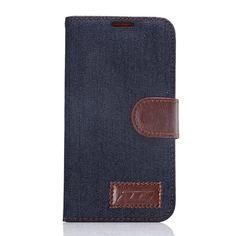 Javu - Samsung Galaxy S6 Hoesje - Wallet Case Jeans Donker Blauw   Shop4Hoesjes