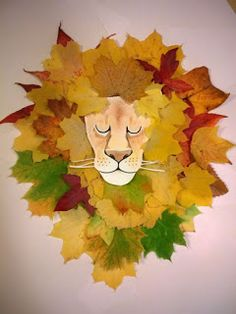 Loukoumiaou: Activités avec feuilles d'automne – tête de lion et crinière … Loukoumiaou: Aktivitäten mit Herbstlaub # 2 – Kopf und Mähne des Löwen in Blättern Kids Crafts, Leaf Crafts, Toddler Crafts, Projects For Kids, Diy For Kids, Art Projects, Arts And Crafts, Autumn Crafts, Autumn Art