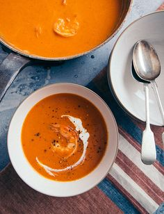 Tomato and Shrimp Bisque is a silky smooth soup with tender shrimp, our crushed tomatoes for a tomato base and just enough cream to make it feel indulgent. Shrimp Bisque, Seafood Bisque, Shrimp Soup, Shrimp Dishes, Shrimp Recipes, Soup Recipes, Shellfish Recipes, Yummy Recipes, Tomato Bisque Soup