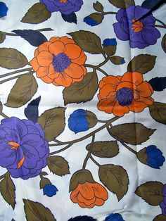 60's Chintz Fabric / Large Floral Print /