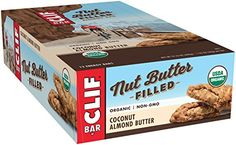 CLIF Nut Butter Filled - Organic Energy Bar - Coconut Almond Butter - (1.76 Ounce Protein Snack Bar, 12 Count)  Made with delicious, creamy peanut, hazelnut or almond butters  Certified USDA organic, non GMO  7 grams (9% DV) of plant-based protein from nut butter, brown rice protein and pea protein  Low glycemic (low glycemic-index foods digest slowly for prolonged levels of energy)  Does not contain partially hydrogenated oils, high fructose corn syrup or artificial flavors