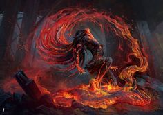 """Volcanic Risi by Alexandre Mokhov Illustration for the card game """"Mythgard"""" … Volcanic Risi by Alexandre Mokhov Illustration for the card game """"Mythgard"""" by Rhino Games Dark Fantasy Art, Fantasy Artwork, Dark Art, Fantasy Creatures, Mythical Creatures, Art Afro, Wallpaper Aesthetic, Fantasy Inspiration, Fantasy Characters"""