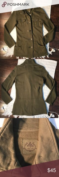 Prana Military Style Jacket Prana Olive Green Military Style Jacket. Sweatshirt material. Love this jacket! Super comfy! Extra buttons inside. Well loved and in good condition. Size S. Prana Jackets & Coats