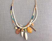 Seed Bead Pendant Necklace Boho Bohemian Statement Tribal Gold Seed Bead Statement Necklace Shark Tooth Gemstone Multiple Strand Layer