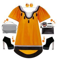 """Orange You Lucky!"" by petalp ❤ liked on Polyvore featuring Bobbi Brown Cosmetics, Eddie Borgo, Giuseppe Zanotti, Be-Jewelled, Topshop, orange and dress"
