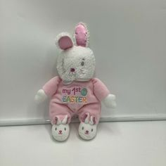 Baby Starters My 1st Easter Bunny Rabbit Plush Rattle Soft Toy Pink White 2015 #BabyStarters