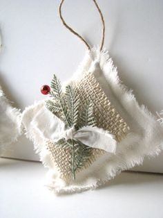 Linen and Burlap Ornament with Frosted Red Berry (sold)