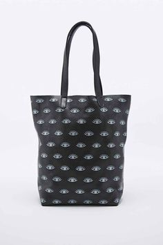 Baggu X UO Basic Eye Print Leather Tote in Black - Urban Outfitters