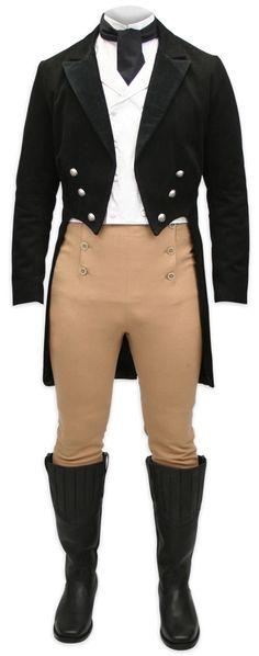 Regency Tailcoat - Black with Velvet Trim [002608]