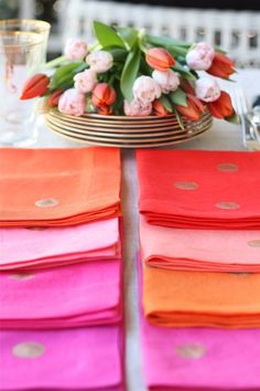 #DIY Easy-to-follow tutorial for confetti napkins. (P.S. — Anthopologie is carrying confetti napkins in this exact color scheme. But you can make your own!)
