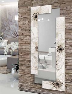 Awesome ideas for decorating the hallway with modern wall mirror designs, home interior wall mirror decor ideas for modern style apartments 2019 Interior Walls, Home Interior Design, Stone Interior, Living Room Designs, Living Room Decor, Spiegel Design, Wall Decor, Wall Art, Home Decor