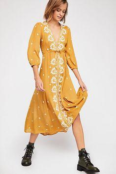 564ca79b Slide View 1: Embroidered Fable Midi Dress Boho Dress, Boho Look, Free  People