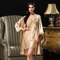 2016 Top Fashion Pijamas Falaishuka Twinset Silk Gown Women Natual Nightgowns 100% Pajamas V-neck Full Sleeve Robe Sets S817