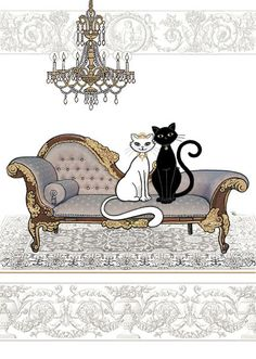 Two Cats on Chaise - Bug Art greeting card