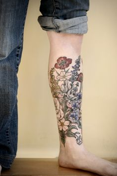 Wonderland Tattoos - kirstenmakestattoos: progress on a floral lower...