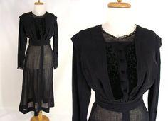 $134.44 Edwardian Dress. Antique Dress. original vintage 1800s 1900s Black Edwardian Mourning Dress. Black Cotton Velvet Silk Lace. Study. size 0 XS by wardrobetheglobe on Etsy