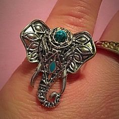 (C2) Elephant Ring Pretty silver toned zinc alloy with turquoise stone. This is a size 9. New without tag. Jewelry Rings