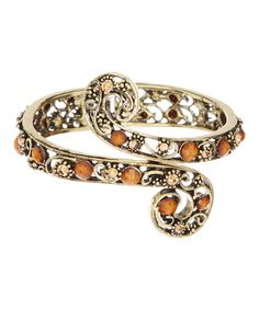 Look at this #zulilyfind! Goldtone & Brown Swirl Hinge Cuff by Punky Jewels #zulilyfinds