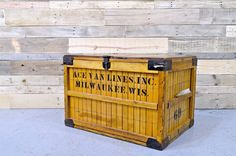 LARGE Vintage Wood Crate Bread Shipping Crate by NorthboundSalvage : Make different style crates for a big storage wall