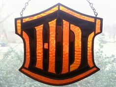 Stained glass Harley Davidson logo