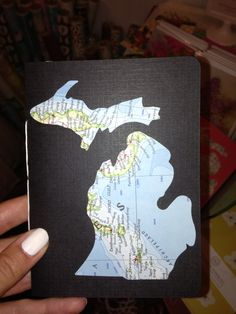 Cut up a map in the shape of a state- instant road trip journal and keepsake.
