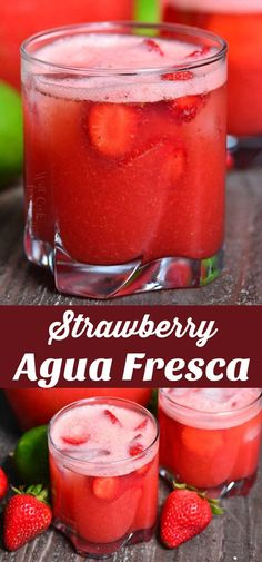 A perfect summer drink with refreshing blend of strawber Strawberry Agua Fresca. A perfect summer drink with refreshing blend of strawberries water sugar and lime juice is a great light alternative to juices and sodas. Fresca Drinks, Juice Drinks, Fruit Drinks, Smoothie Drinks, Non Alcoholic Drinks, Cocktail Drinks, Healthy Drinks, Smoothies, Beverages