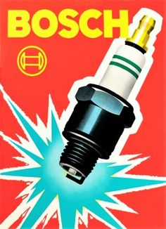 Bosch Spark Plug Vintage Automobile Advertising Poster on Canvas in. Pub Vintage, Vintage Labels, Vintage Signs, Vintage Racing, Vintage Advertising Posters, Vintage Advertisements, Vintage Posters, Car Posters, Poster On