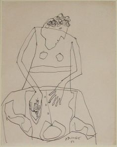Jean Dubuffet. Woman Ironing a Shirt, I. (December 1951)
