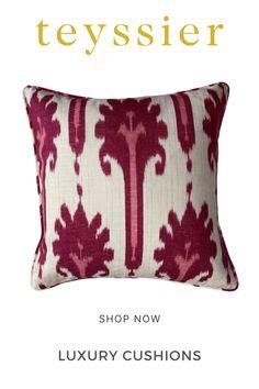 Bedroom Cushions, Cushions On Sofa, Bed Cushions Arrangement, Luxury Cushions, Ikat Pattern, Handmade Cushions, Ikat Fabric, Printed Linen, Upholstered Furniture