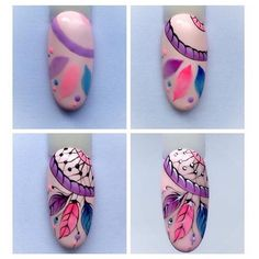 Attrapes rêves nail artYou can find Funky nail art and more on our website. Nail Art Hacks, Nail Art Diy, Diy Nails, Cute Nails, Pretty Nails, Funky Nail Art, Funky Nails, Dream Catcher Nails, Nail Drawing