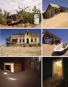 Kolmanskop, Namibia - Diamond Mine town...after WWI when diamonds sales dropped...was the beginning of the end; Kolmanskop turned into a ghost town being buried by sand and trapped in time.