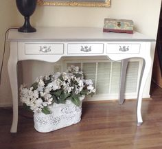 White and Silver French Hollywood Regency Desk, Entry Hall Table, Vanity by YourVintageBungalow on Etsy https://www.etsy.com/listing/233244980/white-and-silver-french-hollywood