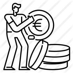 Gold Money, Creative Icon, Vector Icons, Icon Design, Outline, Wealth, Euro, Finance, Coins
